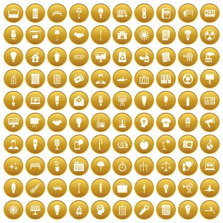 100 lamp icons set in gold circle isolated on white vectr illustration Illustration