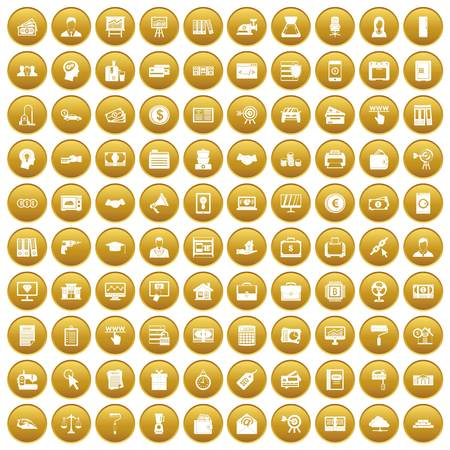 100 lending icons set in gold circle isolated on white vectr illustration Illustration
