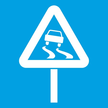 wintry weather: Slippery when wet road sign icon white isolated on blue background vector illustration