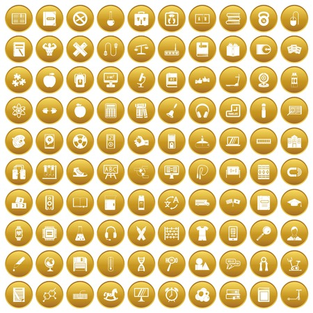100 learning kids icons set in gold circle isolated on white vectr illustration