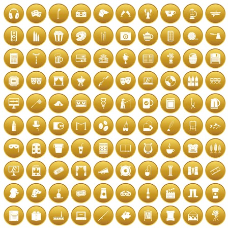 100 leisure icons set in gold circle isolated on white vectr illustration