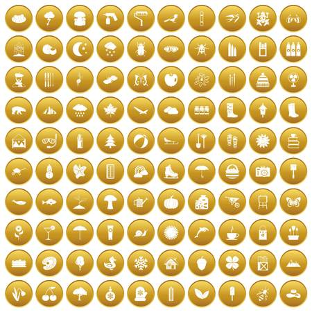 100 landscape icons set in gold circle isolated on white vectr illustration