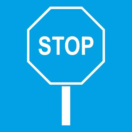 danger ahead: Stop road sign icon white isolated on blue background vector illustration Illustration