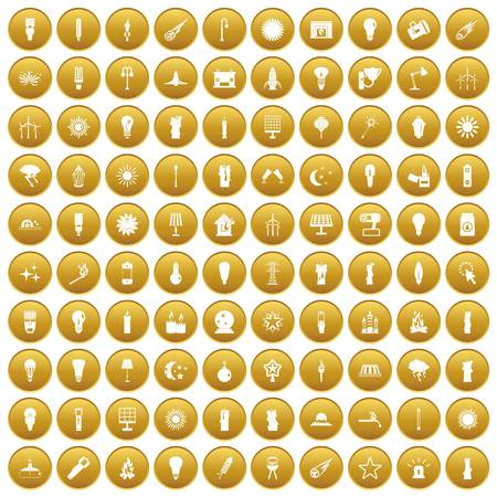 100 light source icons set in gold circle isolated on white vectr illustration