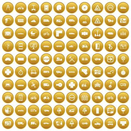 100 location icons set in gold circle isolated on white vectr illustration