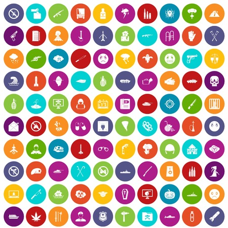 flooding: 100 oppression icons set in different colors circle isolated vector illustration Illustration