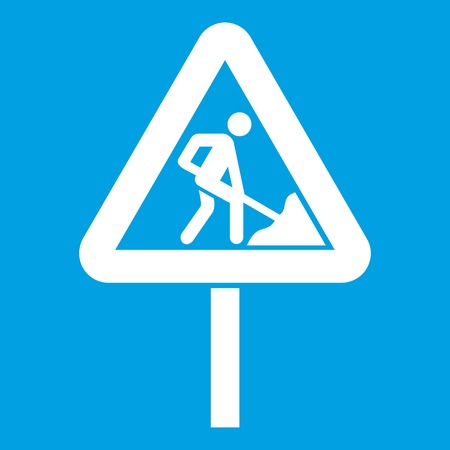 Road works sign icon white isolated on blue background vector illustration