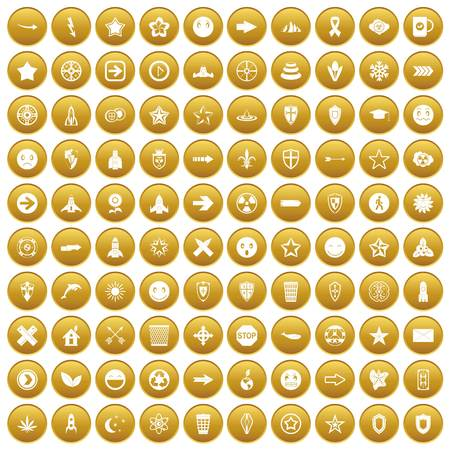 100 logotype icons set in gold circle isolated on white vectr illustration