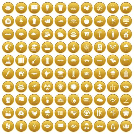 100 lotus icons set in gold circle isolated on white vectr illustration