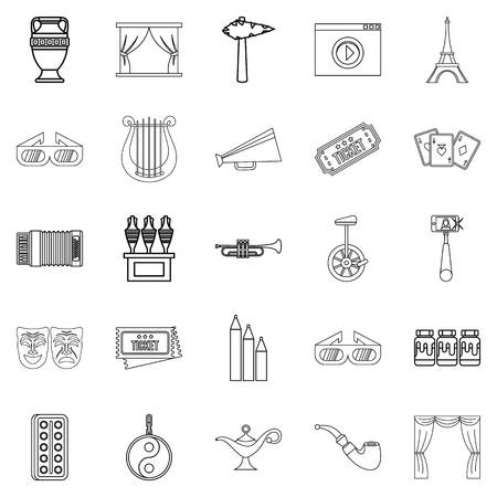 Cinema icons set. Outline set of 25 cinema vector icons for web isolated on white background