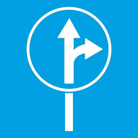 Straight or right turn ahead road sign icon white isolated on blue background vector illustration