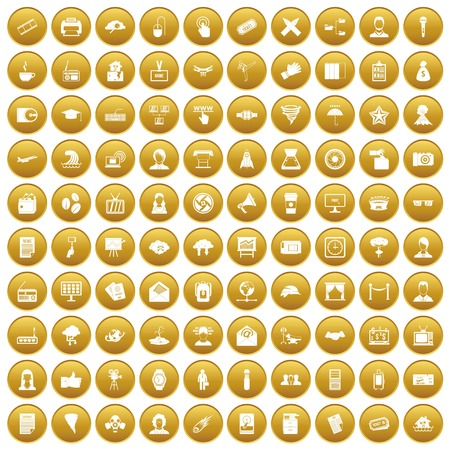 100 journalist icons set in gold circle isolated on white vectr illustration