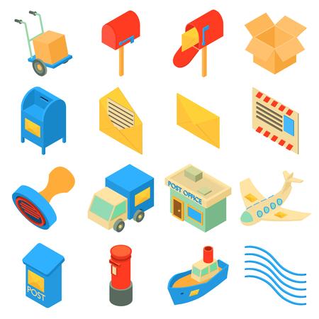 Post dienst pictogrammen instellen. Isometrische illustratie van 16 poste dienst pictogrammen instellen vector iconen voor web Stock Illustratie
