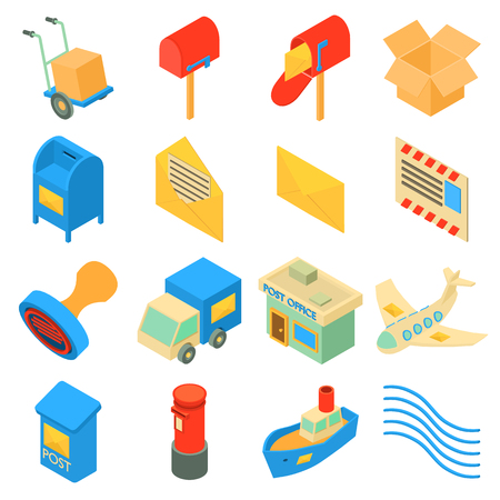 Set di icone Poste impostate. Illustrazione isometrica di 16 poste icone di servizio impostare icone vettoriali per il web Archivio Fotografico - 83066540