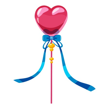 Heart wand icon. cartoon illustration of heart wand vector icon for web Illustration