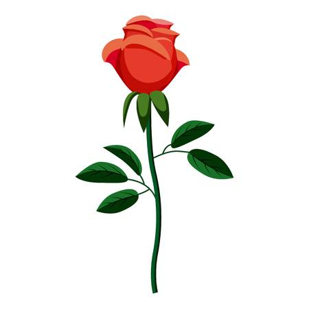 Rose-Symbol Karikaturillustration der rosafarbenen Vektorikone für Netz