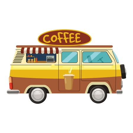 Van mobile cafe icon. cartoon illustration of van mobile cafe vector icon for web