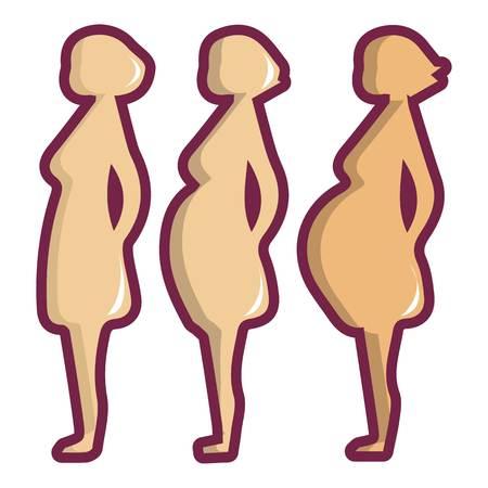 妊娠期間のアイコン。Web デザインのための妊娠期間ベクトル アイコンの漫画イラスト