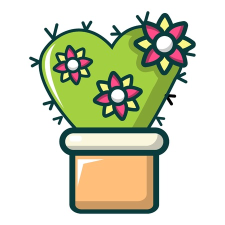 Love cactus icon. Cartoon illustration of love cactus vector icon for web design
