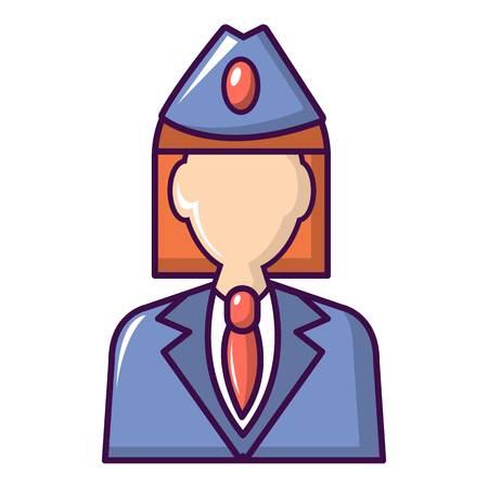 Train conductor icon. Cartoon illustration of train conductor vector icon for web design