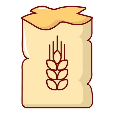 Bag of wheat icon. Cartoon illustration of bag of wheat vector icon for web design Illustration