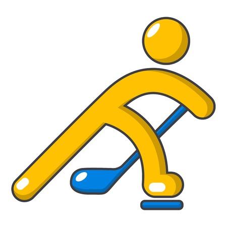Hockey player icon. Cartoon illustration of hockey player vector icon for web design