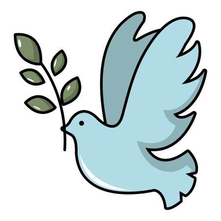 Paloma con el icono de la rama de olivo. Ilustración de dibujos animados de Paloma con icono de vector de rama de olivo para diseño web
