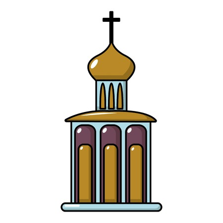 Church building icon. Cartoon illustration of church building vector icon for web design