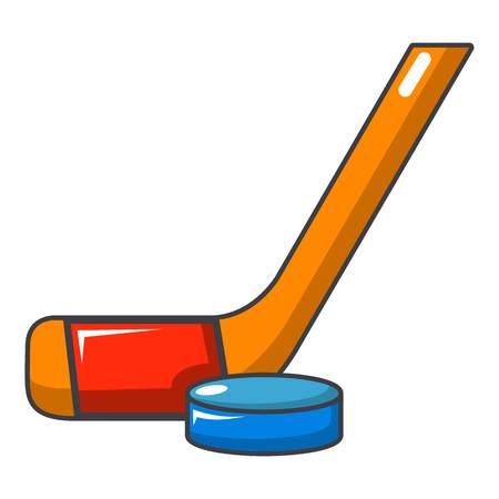 arquero de futbol: Icono de palo de hockey y puck. Ilustración de dibujos animados de palo de hockey y disco icono de vector para diseño web Vectores