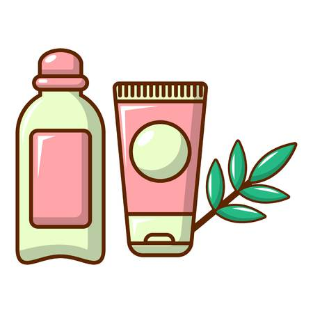Massage cream with olive oil icon. Cartoon illustration of massage cream with olive oil vector icon for web design Illustration