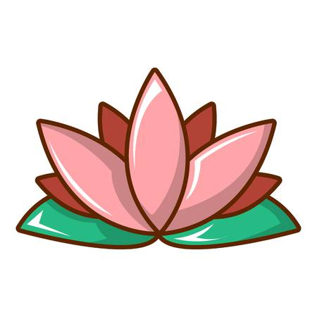 Lotus flower icon, cartoon style Illustration