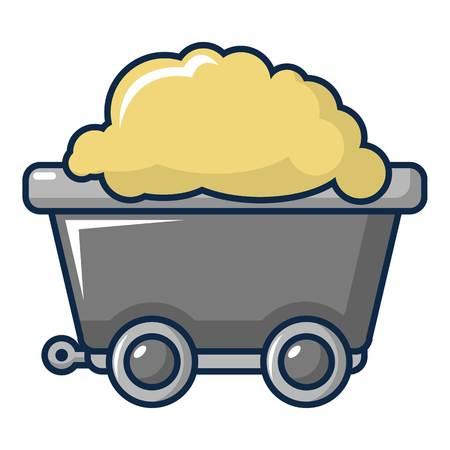 Small coal trolley icon. Cartoon illustration of small coal trolley vector icon for web design Illustration