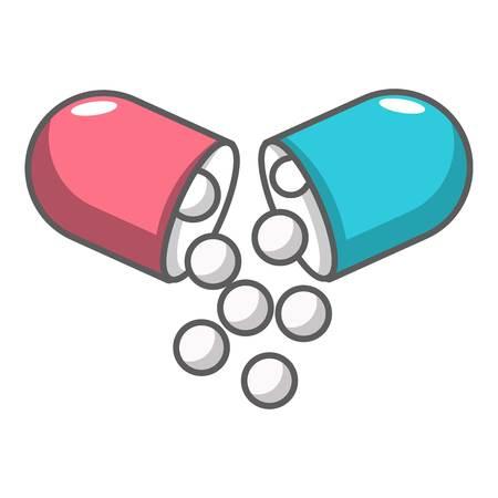 pill prescription: Open capsule pill icon. Cartoon illustration of open capsule pill vector icon for web design