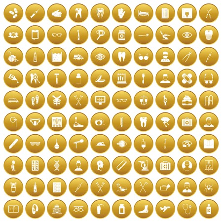 100 medical treatmet icons set gold