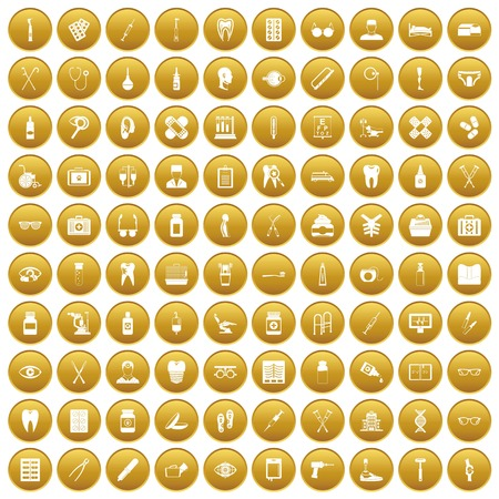drill: 100 medical accessories icons set in gold circle isolated on white vectr illustration