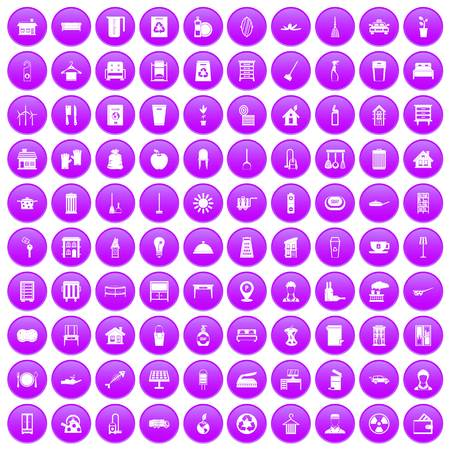 100 cleaning icons set purple