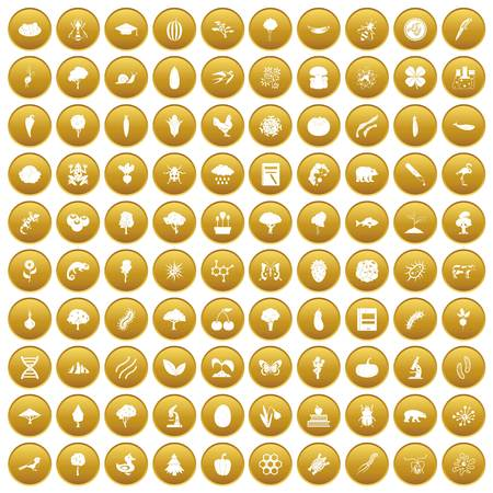 100 microbiology icons set gold