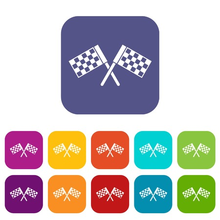 Crossed chequered flags icons set