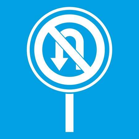 No U turn road sign icon white