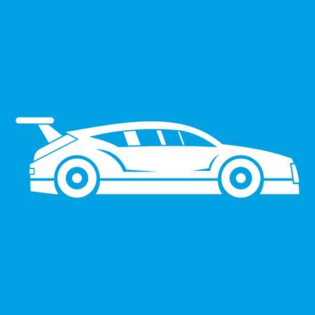 f1: Rally racing car icon white isolated on blue background vector illustration