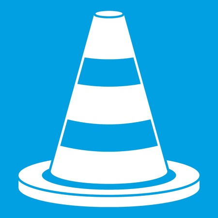 Traffic cone icon white isolated on blue background vector illustration Illustration