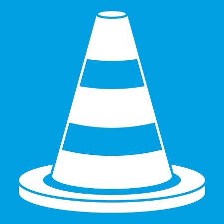 Traffic cone icon white geïsoleerd op blauwe achtergrond vector illustratie