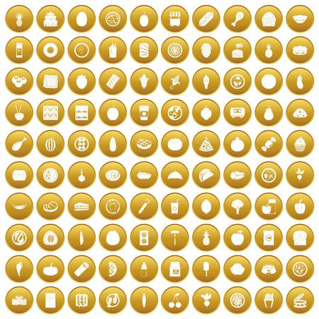 100 nutrition icons set gold