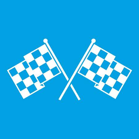 dragster: Checkered racing flags icon white isolated on blue background vector illustration Illustration