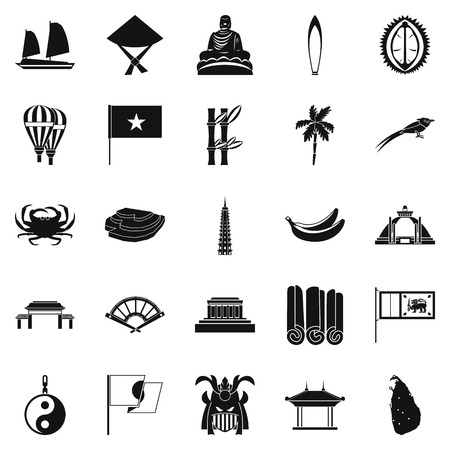 Asian countries icons set, simple style