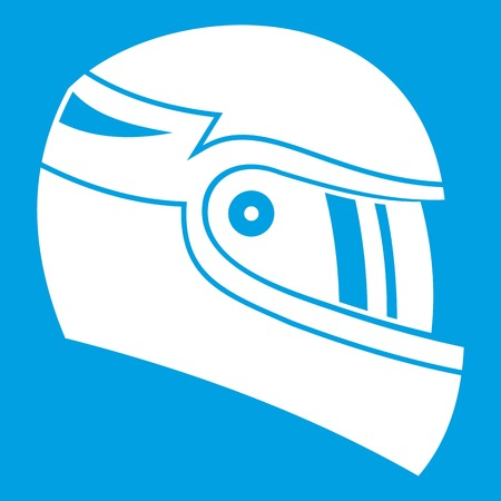 racing sign: Racing helmet icon white isolated on blue background vector illustration Illustration