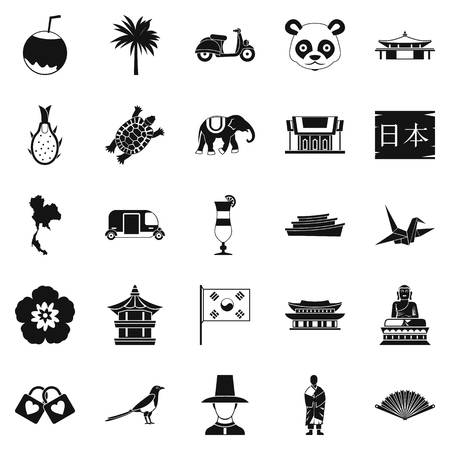 Countries in Asia icons set, simple style Illustration