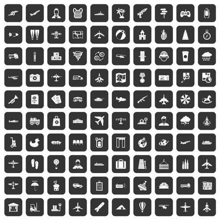 palm pilot: 100 plane icons set in black color isolated vector illustration
