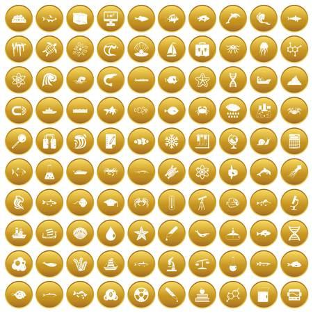 100 oceanology icons set gold Иллюстрация