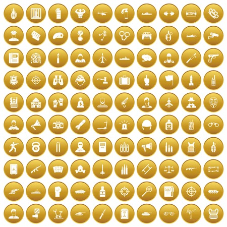 100 police icons set gold Illustration